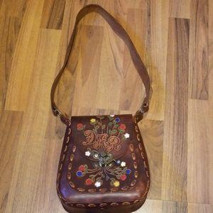 Vintage Boho Brown Tooled Floral Leather Satchel